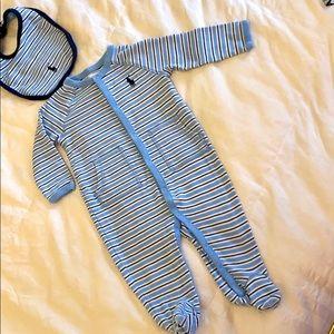 Ralph Lauren Footie Sleeper-Free Bib EUC